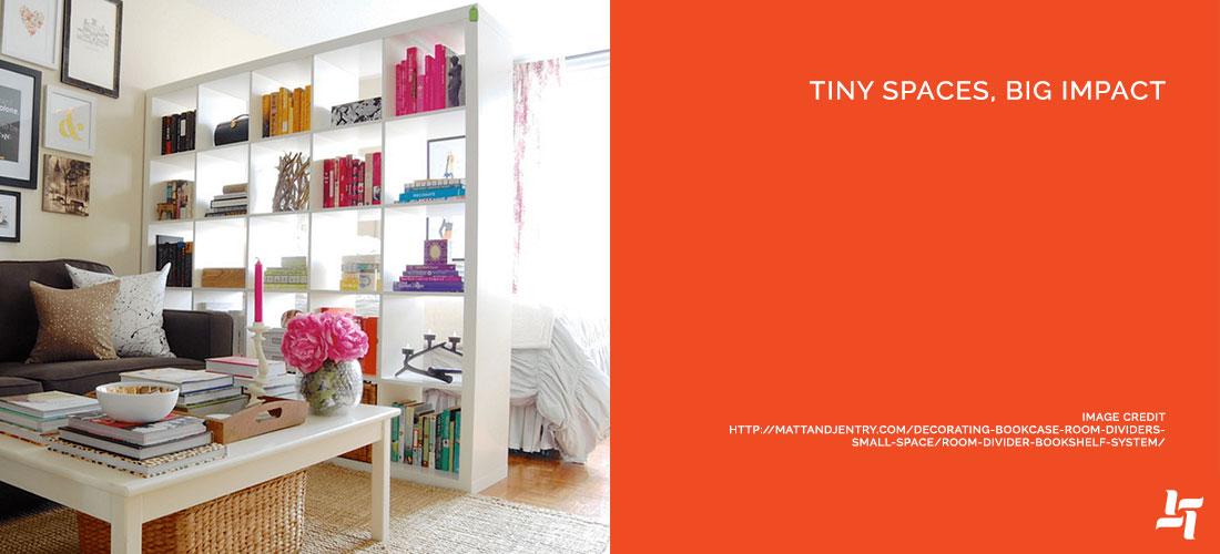 Apartment with bookshelf separating room