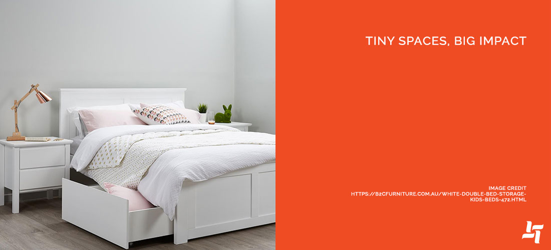 Bed with storage beneath