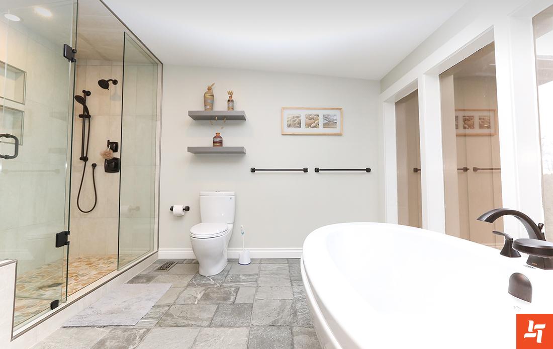 Bathtub shower and toilet