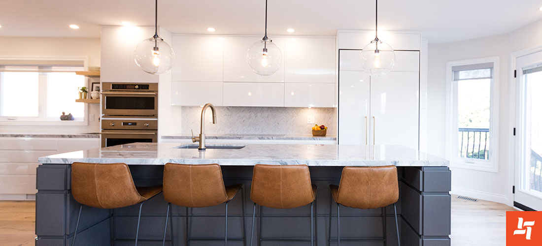 Modern kitchen with counters and bar stools