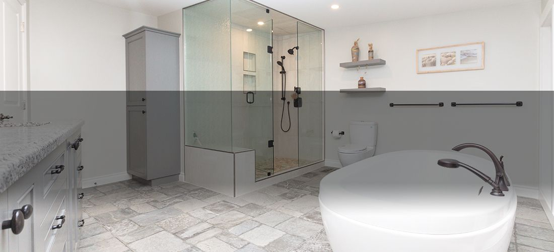 Bathroom with standup shower and large tub